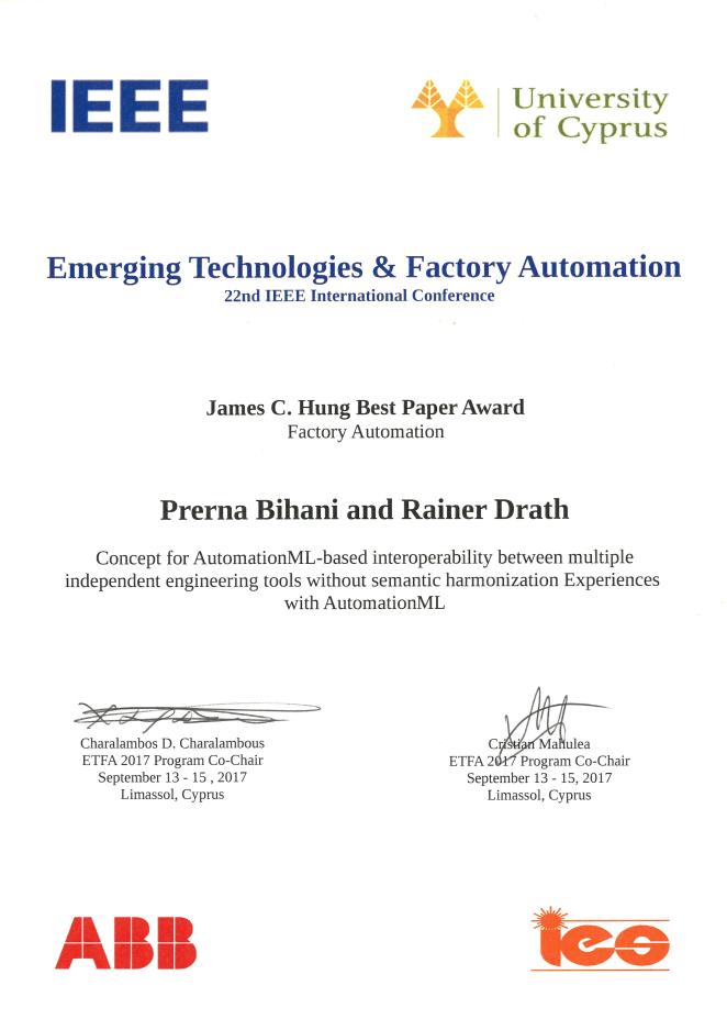 Best Paper Award 2017